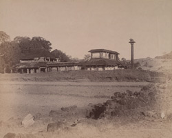 View from the south of the Chandranatha Basti, Bhatkal, with the lamp column (dhvajastambha) at the right